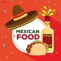pôster de comida mexicana com chapéu, garrafa de tequila e taco vetor