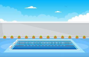 piscina exterior com cerca e céu vetor