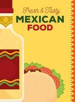 pôster de comida mexicana com taco e garrafa de tequila vetor