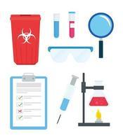 pesquisa de vacina e conjunto de ícones científicos vetor