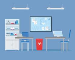 pesquisa de vacina médica com experiência de laboratório vetor