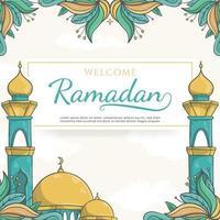 desenhado à mão fundo do cartão de boas-vindas ao ramadã com ornamento islâmico vetor