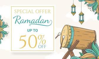 mão desenhada banner de venda do ramadã com ilustração de ornamento islâmico vetor