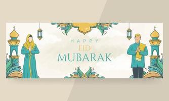 mão desenhada feliz eid mubarak lindo banner de letras vetor