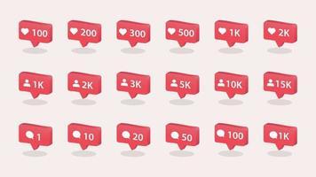 Ícone de notificação 3D. ícone de vetor de mídia social. como, notificação, coração, seguidor, ícone de comentário.