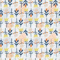 padrão de flores sem costura desenhada à mão
