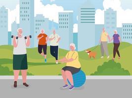 idosos fazendo atividades ao ar livre