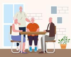 idosos fazendo atividades dentro de casa vetor