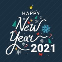 letras decorativas feliz ano novo 2021 vetor