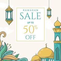mão desenhada ramadan kareem banner de venda com ilustração de ornamento islâmico vetor