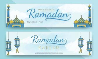 banners horizontais ramadan kareem com ornamento islâmico desenhado à mão