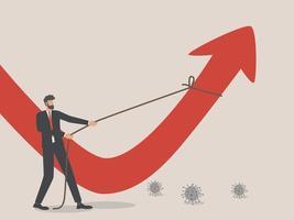 reconstrução de negócios, um empresário puxa uma seta vermelha caindo, o trabalho árduo pela frente para restaurar a economia global após a pandemia do coronavírus. vetor
