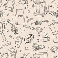 mão desenhada equipamento de café padrão sem emenda vetor