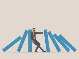 empresário, parando de cair o dominó. símbolo de crise, risco, gestão, conceito de liderança. vetor