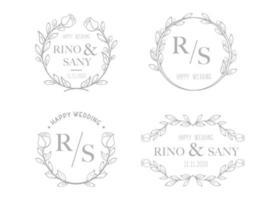 definir modelo de logotipo floral de casamento desenhado à mão