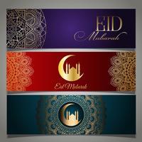 Cabeçalhos Eid Mubarak vetor