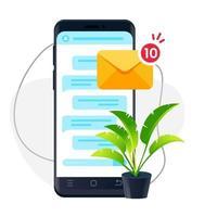 smartphone de design realista. ilustração de obter notificação vetor