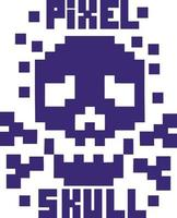 pixel crânio - camisetas com design vintage vetor