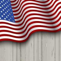 Bandeira americana, ligado, um, madeira, fundo vetor