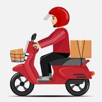 motorista de entrega de motocicleta com roupas vermelhas vetor