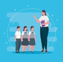 professor com livro e alunos