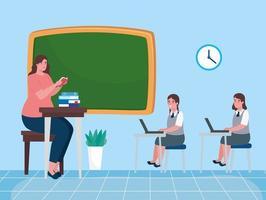 professor com alunos na sala de aula vetor