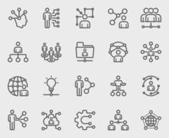 conjunto de ícones de linha de rede humana