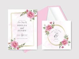 Modelo de cartão de convite de casamento desenhado à mão floral bonito e elegante vetor