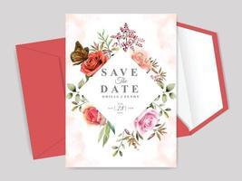 cartão de convite de casamento desenhado à mão floral lindo