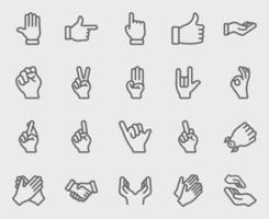 conjunto de ícones de linha de coleta de mão