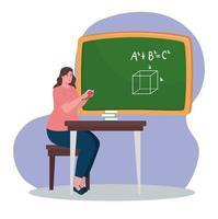 professor com quadro-negro na sala de aula