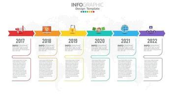 infográfico elemento de cor de 6 etapas com seta, diagrama gráfico, conceito de marketing on-line de negócios. vetor