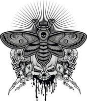 mariposa falcão cabeça-da-morte e crânio, camisetas com design vintage do grunge vetor