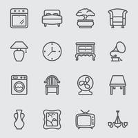 conjunto de ícones de linha interior de casa vetor