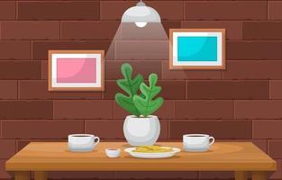 café, batata frita e planta na mesa do café vetor