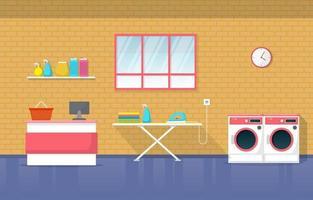 lavanderia com máquinas de lavar e tábua de passar vetor