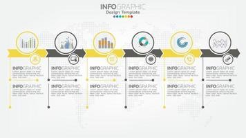 infográfico elemento de cor amarela de 6 etapas com seta, diagrama gráfico, conceito de marketing on-line de negócios. vetor