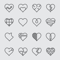 conjunto de ícones de linha de coração vetor