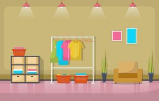 lavanderia com rack de roupas e prateleiras vetor