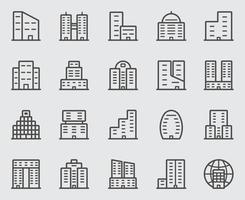 conjunto de ícones da linha da sede vetor