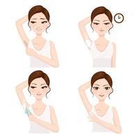 procedimento de depilação nas axilas sozinho vetor