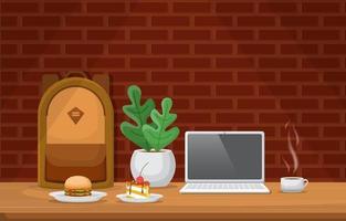 café, almoço e laptop na mesa do café vetor