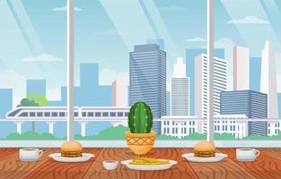almoço em restaurante com ilustração da vista da cidade vetor