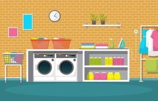 lavanderia com máquinas de lavar e prateleiras vetor