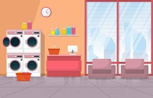 lavanderia com máquinas de lavar e cadeiras vetor