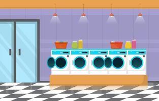 lavanderia com máquinas de lavar e cestos vetor