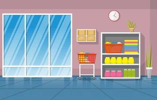 lavanderia automática com prateleiras e cestos vetor