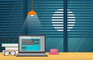 laptop e xícara de café na ilustração de mesa de escritório vetor