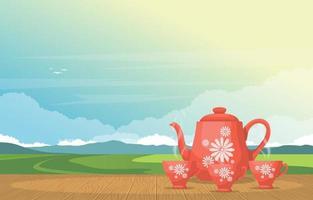 xícaras de chá e bule de chá em uma mesa com vista para a natureza vetor