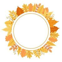 folhas de outono vermelhas e amarelas em um buquê de moldura circular vetor